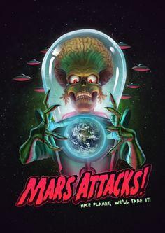 Mars Attacks Poster - Fan Art, Guilherme Gusmão de Freitas on ArtStation at https://www.artstation.com/artwork/vEZeY
