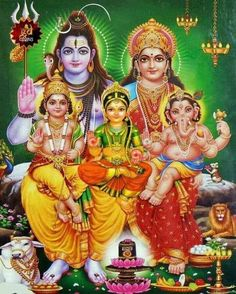 Lord Shiva and Goddess Parvathi with their sons - Lord Murugar and Lord Vinayakar - and daughter Goddess Ashokasundari. Lord Shiva Pics, Lord Shiva Hd Images, Lord Shiva Family, Ganesh Images, Ganesha Pictures, Hindu Shiva, Shiva Parvati Images, Hindu Deities, Hindu Art