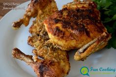 A perfect recipe for Spicy Chicken Charga. Whole Chicken marinated in spicy spices and lemon juice and egg then steam and fry. Spicy Spice, Stuffed Whole Chicken, Marinated Chicken, Indian Food Recipes, Fries, Roast, Bbq, Curry, Pork