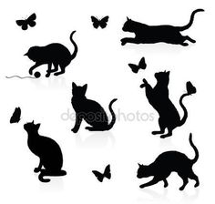 Sagome di gatti con farfalle — Illustrazione stock #18779813