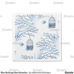 Blue Birdcage Bare Branches Napkins
