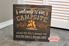 Welcome to our Campfire, Rustic wood sign, Camping, Cabin, Lake life-welcome to our campfire,camping sign, wood sign, distressed sign, vintage sign, cabin sign, life song, inspirational sign, prairielaneboutique, home decor, wall art, made in manitoba, made in canada, housewares, wedding sign