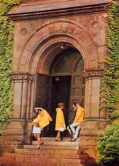 "Vintage Ivy League style from Shosuke Ishizu's ""True Prep"" University Website, University High School, Preppy Men, Preppy Style, Yellow Rain Jacket, Ivy Look, Ivy League Schools, Ivy League Style, Ivy Style"