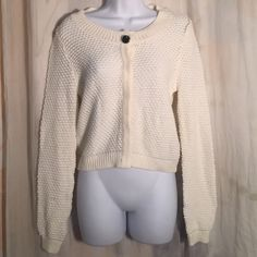 H&M NWT Cream Sweater $30 Knit Snap Front Spring Awesome little sweater, no issues - let's be friends add me on Instagram @OrnamentalStone Facebook Group: Jaded And Traded Pinterest OrnamentalStone /Jaded And Traded Clothes For Sale xoxo H&M Sweaters Cardigans