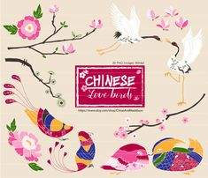 CHINESE LOVE BIRDS & FLOWERS CLIPART SET This Chinese Love Birds' clipart set is perfect for Cardmaking: Lunar New Year Greetings, Valentines
