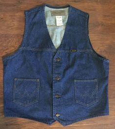 Vtg Wrangler Vest USA Men's Blue Jean Cowboy Jacket Western DENIM Work RANCH L | eBay
