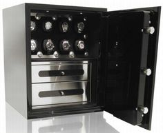 The Man Safe series of luxury burglary safes are created specifically for the requirements of today's man. If you are looking for a watch box or watch case, this is the safe for you! Jet black high end safe with orbita watch winders, drawers, bimotric entry, and brushed stainless steel interior.
