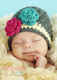CROCHET Hat PATTERN - The Bella Rose Beanie - Sizes from Preemie to Adults - EASY Boutique Hat Pattern - pdf 120 - sell what you make. $3.95, via Etsy.