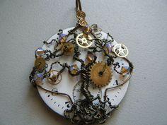 Steampunk Tree of Life Pendant  Vintage Watch Face  by JbellsGems, $44.95