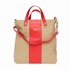 canvas monogram tote- cute gym bag perhaps! Best Handbags, Tote Handbags, Tote Purse, Crossbody Bag, Monogram Tote, Free Monogram, Gucci Spring, Cute Fashion, Purses And Bags