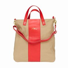 canvas monogram tote