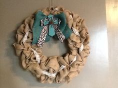 Burlap With Lace, Ribbon, and Cross