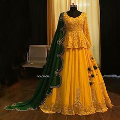 for haldi occasion yellow lehenga choli Party Wear Indian Dresses, Designer Party Wear Dresses, Pakistani Dresses Casual, Indian Bridal Outfits, Indian Gowns Dresses, Indian Fashion Dresses, Dress Indian Style, Pakistani Dress Design, Indian Designer Outfits