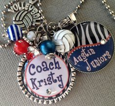 Coach Gift - Personalized - Volleyball, End of Season Gift, Cheer coach, Softball, Basketball, Team Name, - Charm Necklace