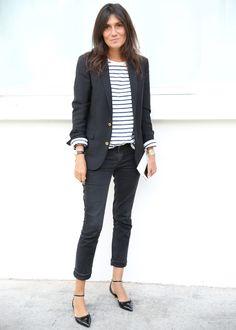 black jeans and kitten heels