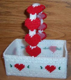 Valentine's Day Basket made in Plastic Canvas
