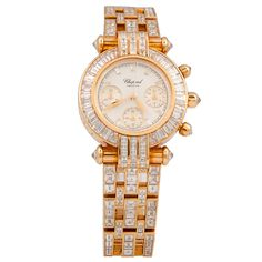 Chopard Lady's Yellow Gold and Baguette Diamond Imperiale Bracelet Watch | From a unique collection of vintage wrist watches at http://www.1stdibs.com/jewelry/watches/wrist-watches/