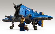 Flying Ace Veronica Andrews in front of her Avenger, the Blue Angel. Cool Lego, Cool Toys, Awesome Lego, Lego For Kids, Toys For Boys, Lego Avion, Lego Plane, Lego Ship, Lego Spaceship