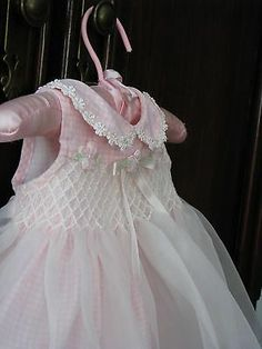 Bonnie Baby Special Occasion Smocked Dress SZ 0 3 MOS TO Precious | eBay
