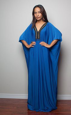 Kaftan Maxi Dress  Blue Kimono Maxi Dress Elegant by Nuichan, $59.00