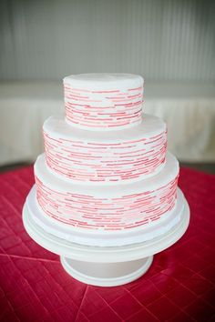 Cute & modern wedding cake.  www.marketplaceweddings.com