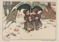 """NBvK 1930 - kaart 5 """"op stap door de sneeuw"""""""