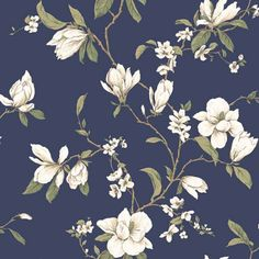 20% Off Callaway Cottage Navy Blue Magnolia Branch Wallpaper by York Wallcoverings. @ Large magnolias appear in graceful profusion on a solid field. The background is smooth while the flowering branches are printed in raised inks. This wallpaper is a classic example of refinement once found in