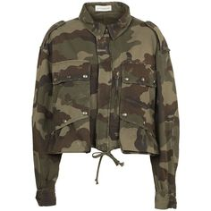 Camouflage Jacket (2.265 BRL) ❤ liked on Polyvore featuring outerwear, jackets, army khaki, womenclothing, cotton army jacket, khaki army jacket, army jackets, khaki jacket and cotton jacket