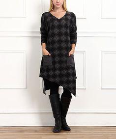 Look at this #zulilyfind! Black & Gray Argyle Handkerchief Dress by Reborn Collection #zulilyfinds