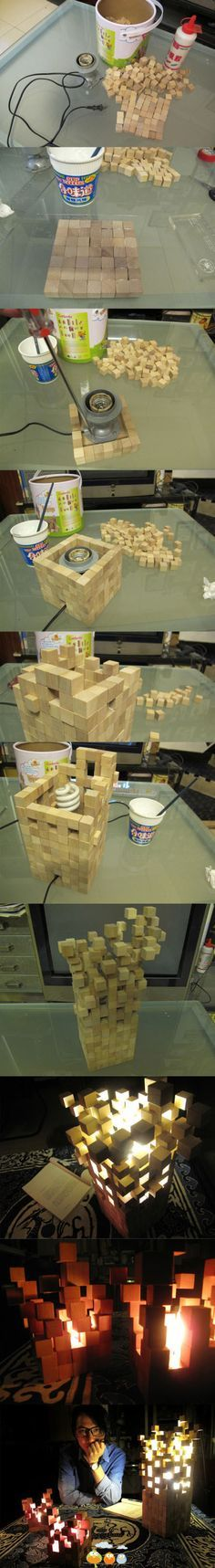 Wooden Blocks Lamp. (I am sure we can figure out a way to put a minecraft style spin on this project).