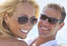 Model Wearing Sunglasses | couple wearing sunglasses with polarized lenses