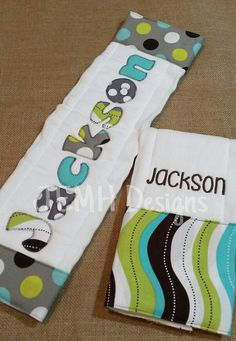 Personalized Boy Burp Cloth Set by JEMHDesigns on Etsy, $17.00