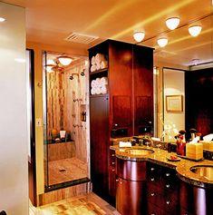 Good lighting in basement bathroom: above sink, near shower, etc.