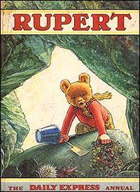 Rupert Bear annual. My mother made me a Rupert scarf for teddy. But teddy also had a wardrobe of dresses!
