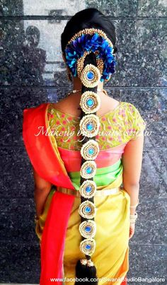 Traditional Southern Indian bride's bridal braid hair. Hairstyle by Swank Studio. Silk Saree. Sari Blouse Design. Hair Accessory. Temple jewelry. Jhumkis. Silk kanchipuram sari. Braid with fresh flowers. Tamil bride. Telugu bride. Kannada bride. Hindu bride. Malayalee bride. Find us at https://www.facebook.com/SwankStudioBangalore