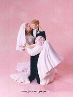 Threshold of Happiness Bride and Groom Wedding Cake Top