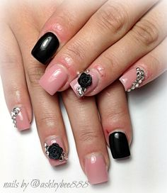nude and black nails with bling and 3D nail art