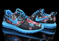 Black and Blue Floral Nike Woman's Roshe Run Print London Olympics #Black #Blue #Nike #Floral #Running #Shoes