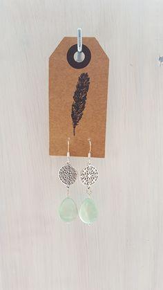 Pastel turquoise/mint groen oorbellen