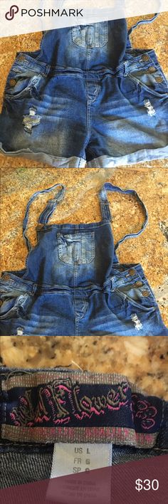 Maternity denim coverall shorts Adorable maternity coverall shorts!  Show off the belly in style!  Wore twice!  Great condition. Wall flower Shorts Skorts