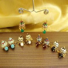 Find wide range of fashion jewellery, imitation, bridal, artificial, beaded and antique jewellery online. Buy imitation jewellery online from designers across India. Antique Jewellery Online, Jhumki Earrings, Traditional Earrings, Gold Jewelry Simple, Jewelry Model, Imitation Jewelry, Gold Jewellery Design, Small Earrings, Jewelry Patterns