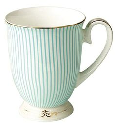 Jusalpha® Royal Fine Bone China Light Blue Stripe Coffee Mug/ Tea Cup/ Gift Box (Mug02)