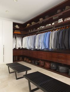 Masculine men's closet in rosewood and stainless steel.