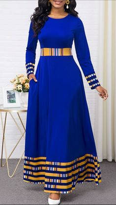 Party Dresses For Women Rainbow Stripe Round Neck Long Sleeve Maxi Dress Latest African Fashion Dresses, African Dresses For Women, African Print Fashion, Women's Fashion Dresses, Dress Outfits, Trendy Dresses, Fashion Clothes, Sexy Dresses, Blue Dresses
