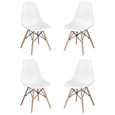 Homycasa Set of 4 Eames Eiffel DSW Style Modern Side Dining Chairs Natural Wood Legs >>> undefined #KitchenDiningRoomFurnitures