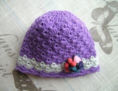 Handmade baby girls HAT, for baby Girl, 3 - 12 Months, crochet hand-knitted purple hat with white stripe and organza flowers by ramutez on Etsy