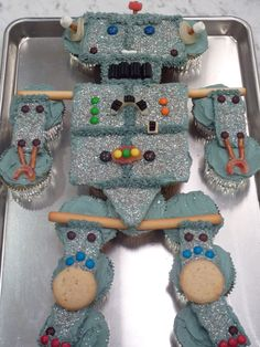 Birthday Cake order for a precious young man - Robot Cupcake Cake decorated with Candy