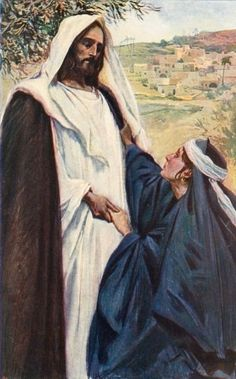 Meeting of Jesus and Martha by Corwin Knapp Linson John 11:23 Jesus saith to her, 'Thy brother shall rise again.' (YLT)