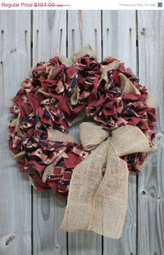 ON SALE Americana Fabric Rag Wreath Primitive by FloralsFromHome, $64.20