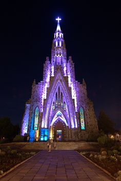 Nossa Senhora de Lourdes Cathedral glowing in the night, Canela, Brazil